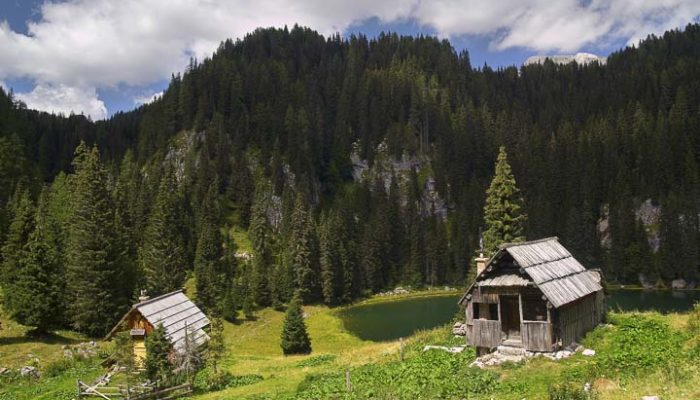 Two huts before triglav lake