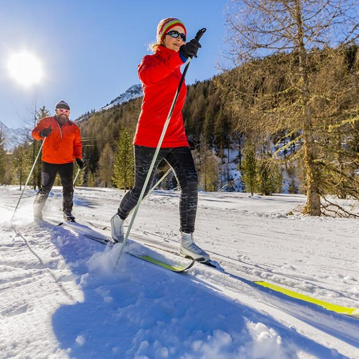 Couple fast cross country skiing