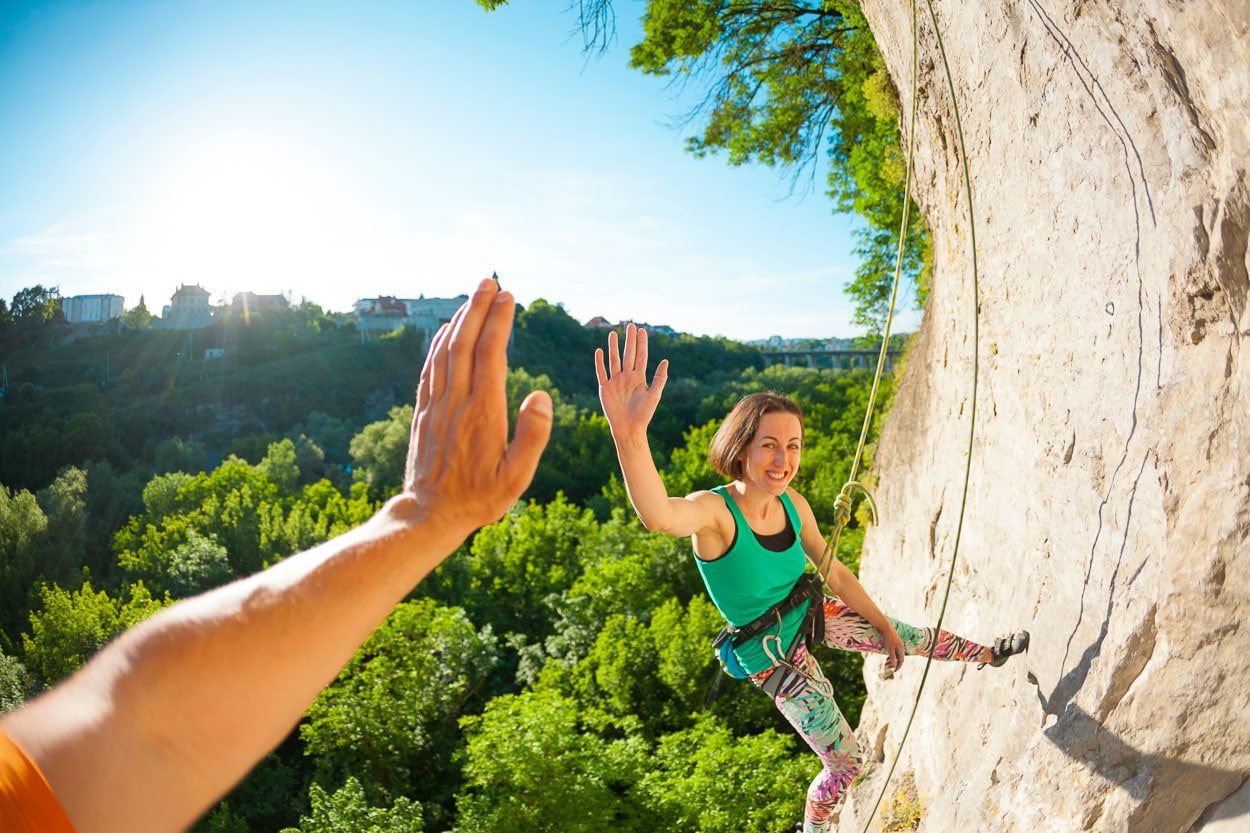 High five for motivation while climbing