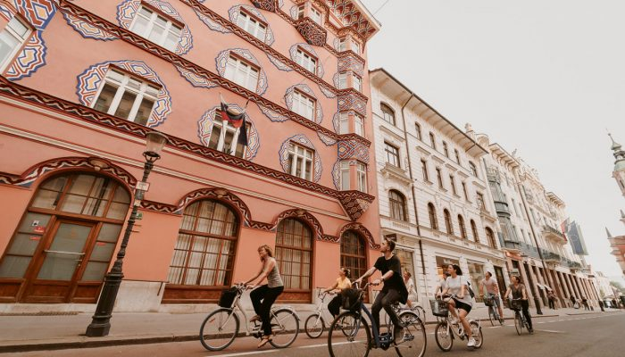 Biking through the streets of Ljubljana