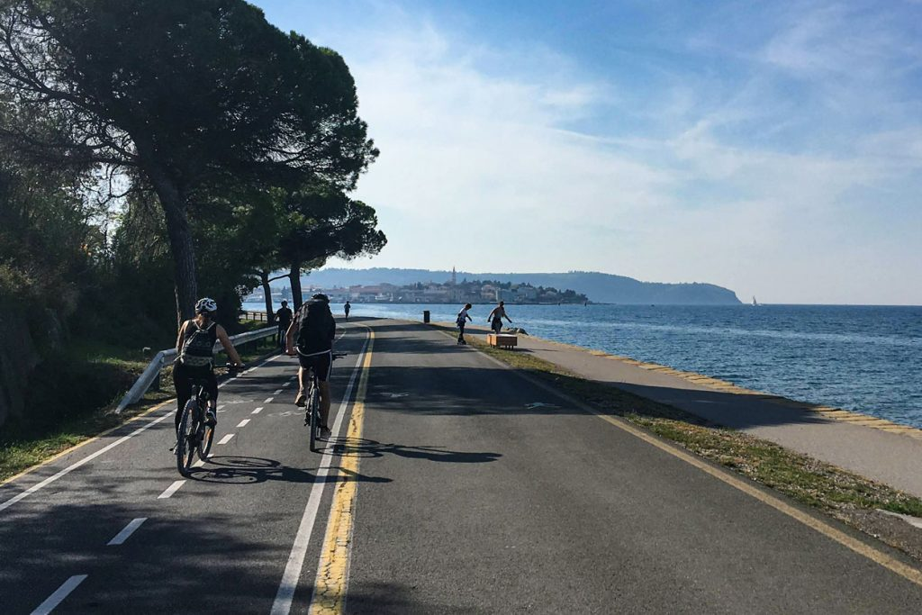 Cycling just next to the sea on Slovenian coast