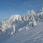 Fresh snow on ski slopes in Slovenia