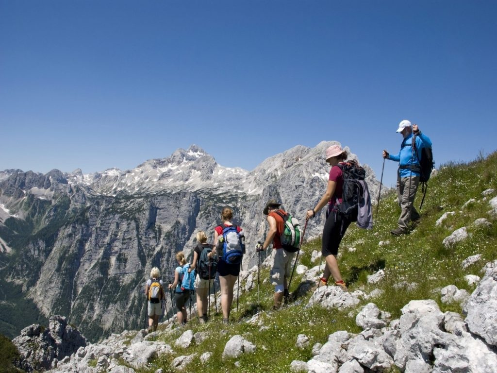 Group of hikers going downhill