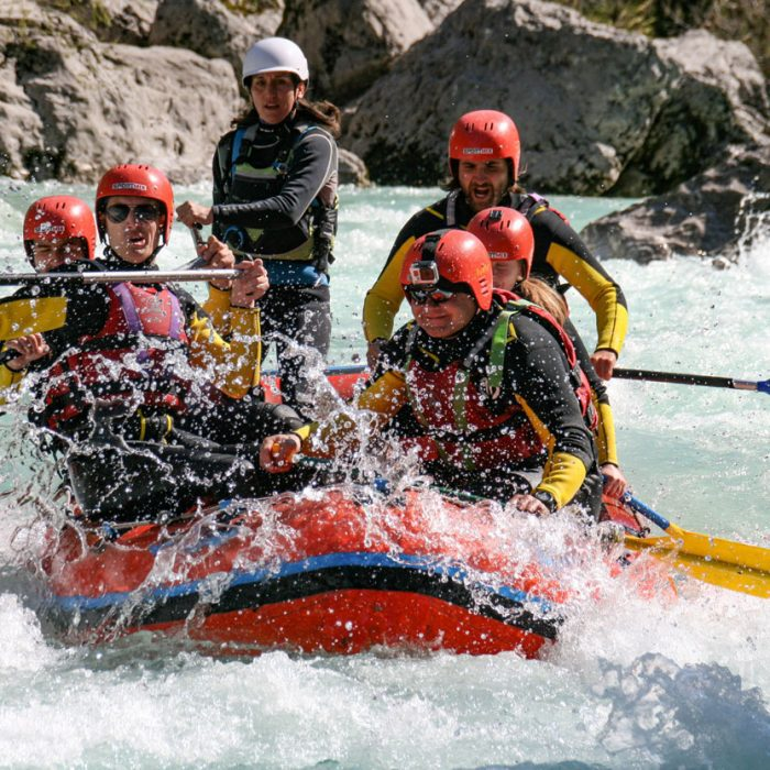 Group rafting in the fast waters