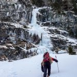 The hike to the waterfall where we start with ice climbing