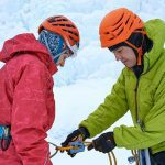 Getting ready for ice climbing