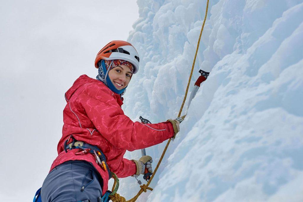 Ice climbing on a frozen waterfall