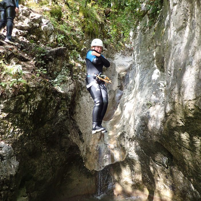 Jump in the water during canyoning