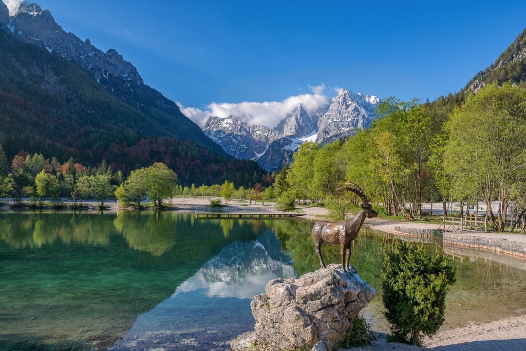 Lake Jasna with a beautiful view on high mountains