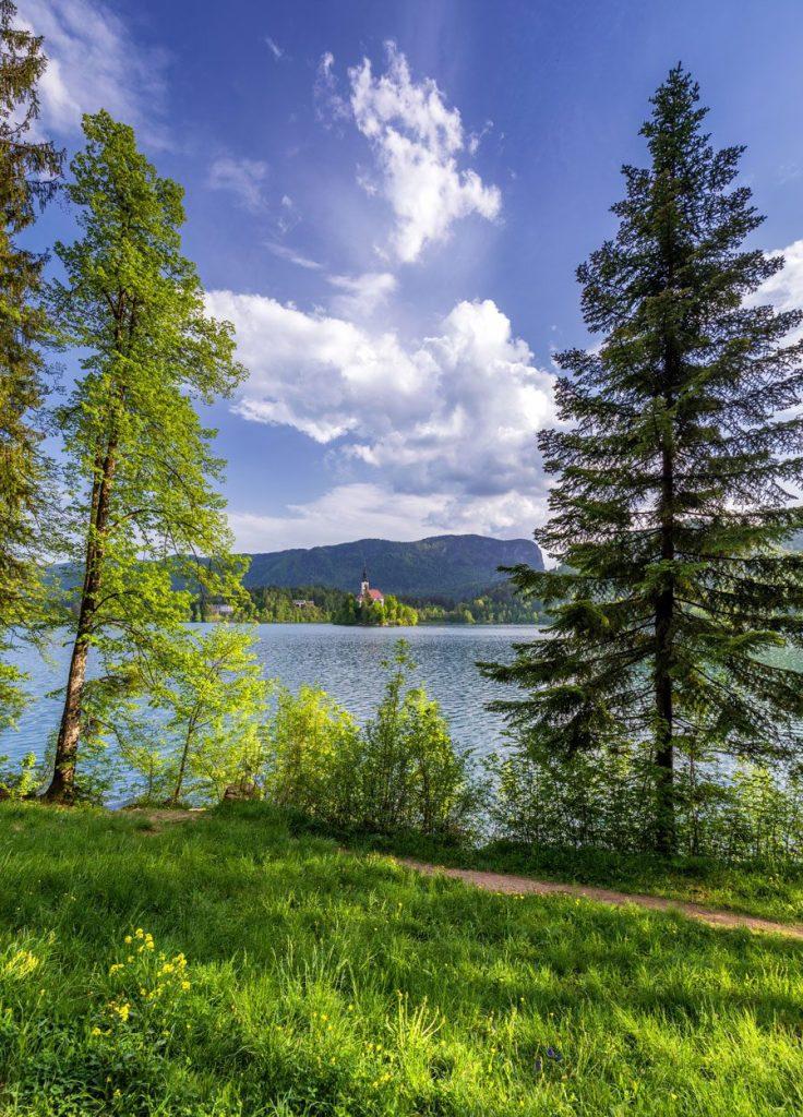Walking around the lake in Bled