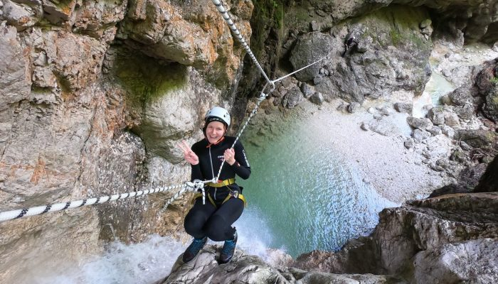 Smiling for the photo while canyoning