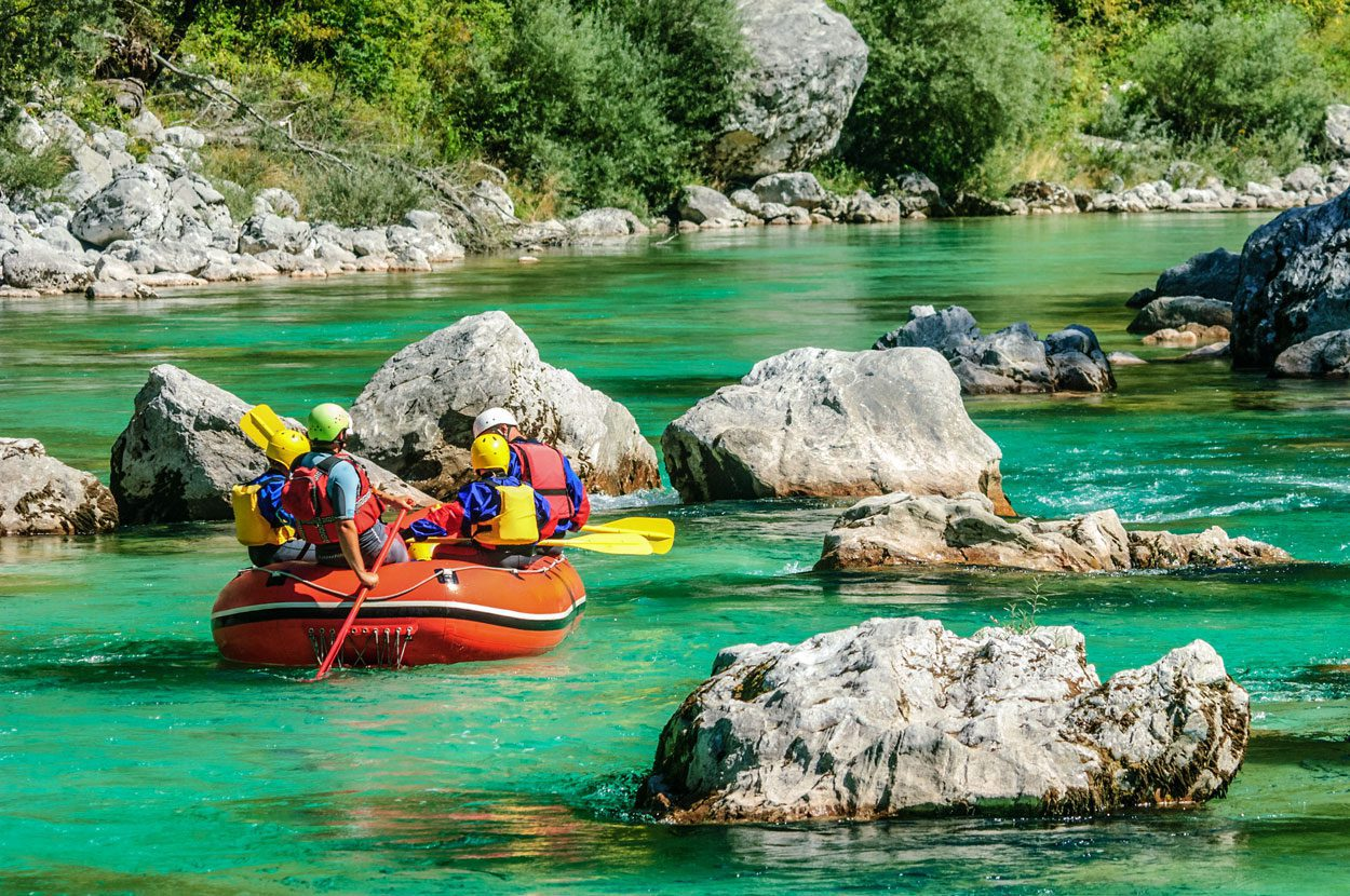 Enjoying the calm part of Soča river