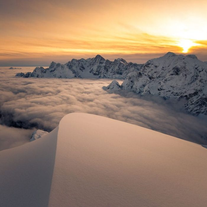 Slovenian mountains in clouds