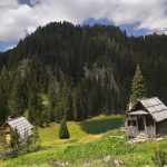 Old wooden huts near Triglav lakes