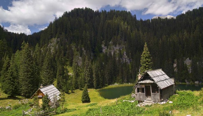 Old wooden huts near Triglav lakes