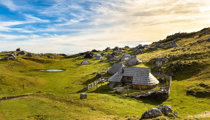 Traditional huts on Velika Planina