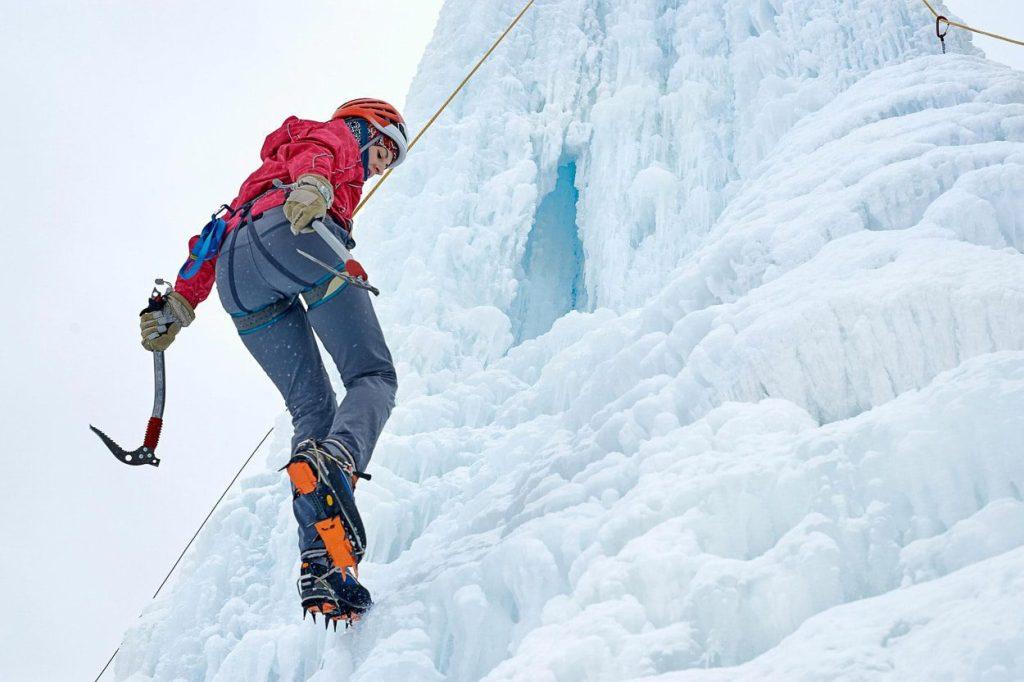 Ice climbing on iced waterfalls