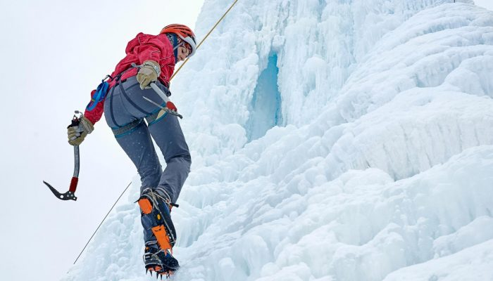 Ice climbing on iced waterfalls
