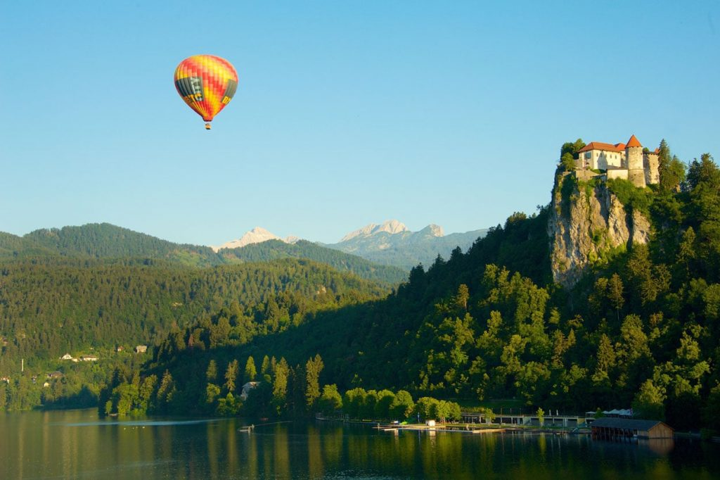 Hot air balloon flight over Bled castle