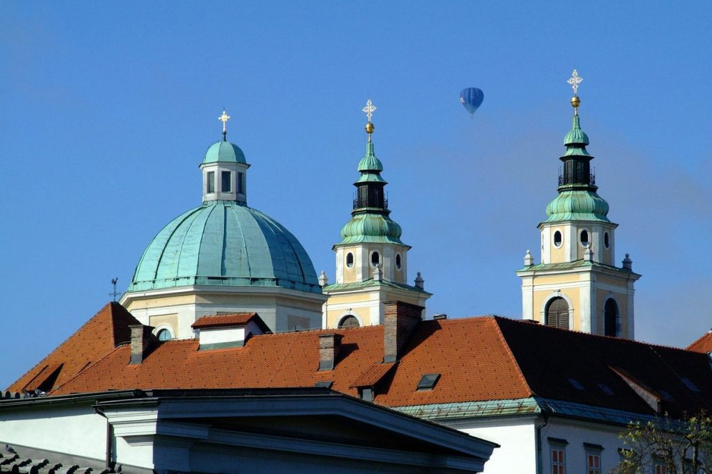 Balloon flight over the Church in Ljubljana