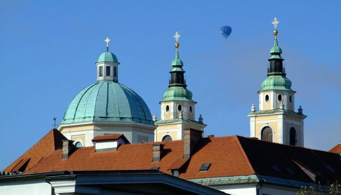 Balloon flight over the Church in Ljubljana