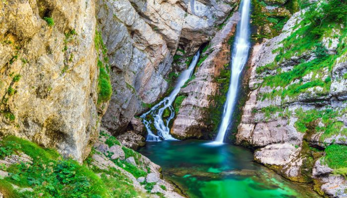 Breath taking waterfalls near Bohinj