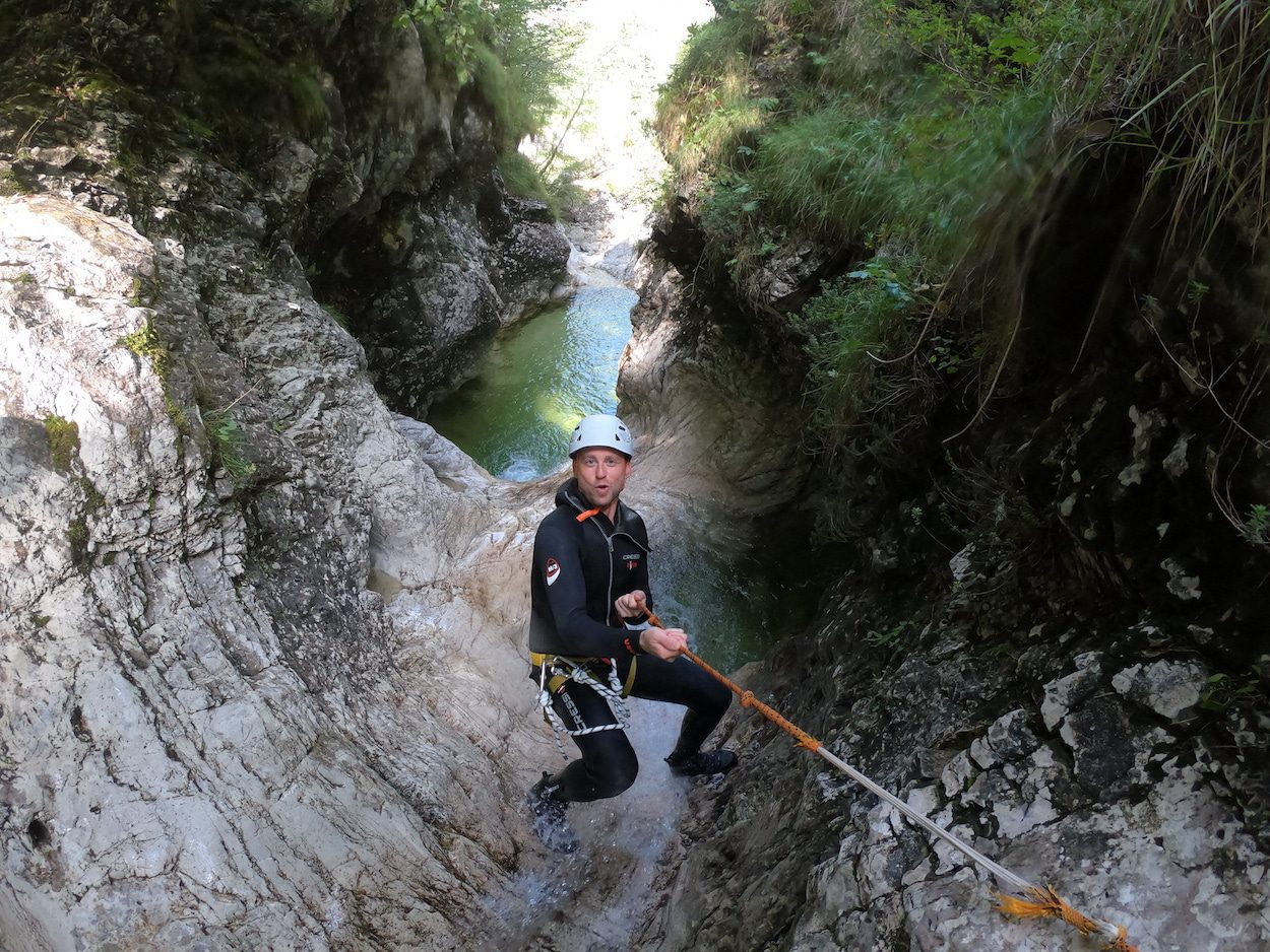 Taking memory photos while canyoning