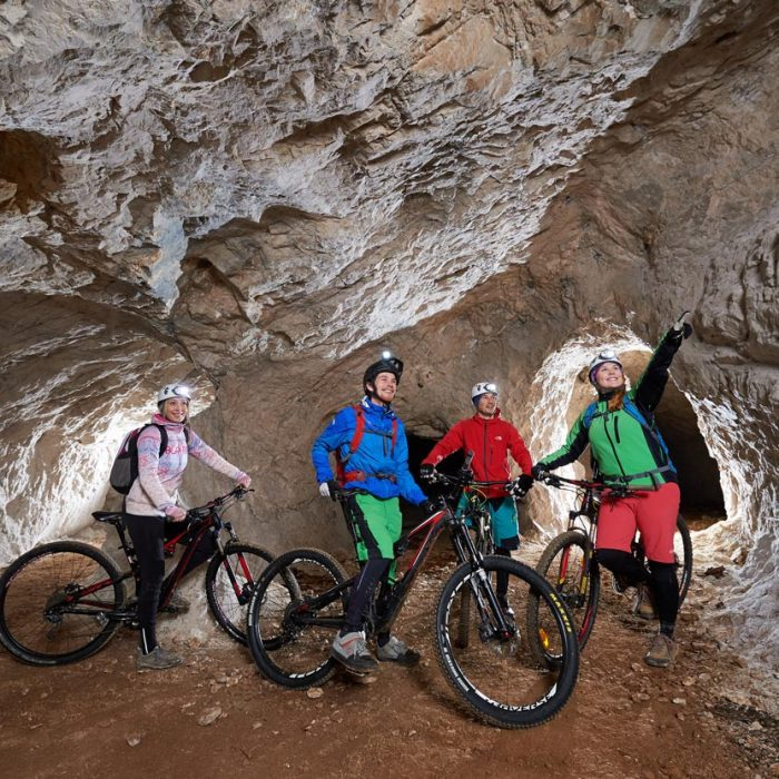 Cave cycling with guide