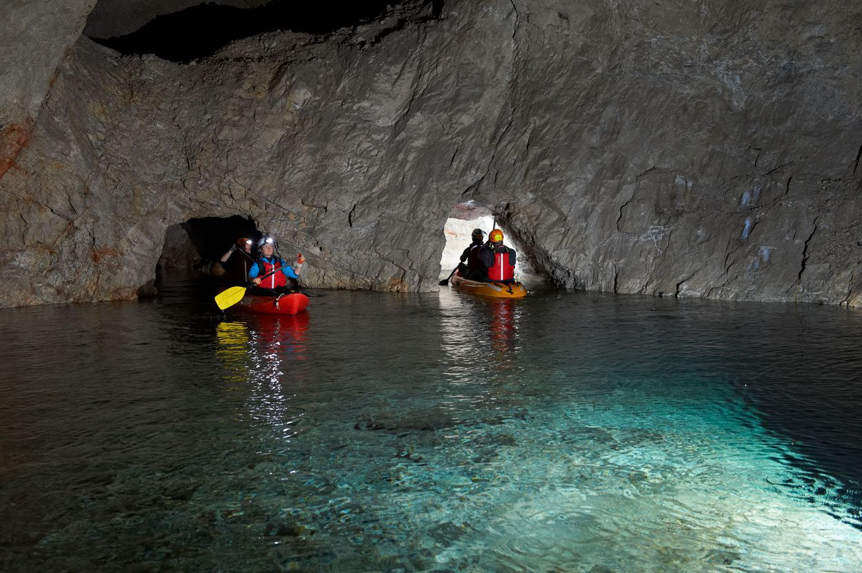 Kayaking trough caves