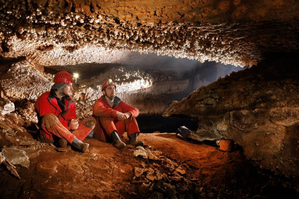 cavers in a cave bled