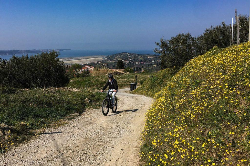 Cycling uphill near Slovenian coast