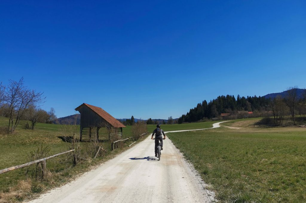 Cycling along Cerknica fields