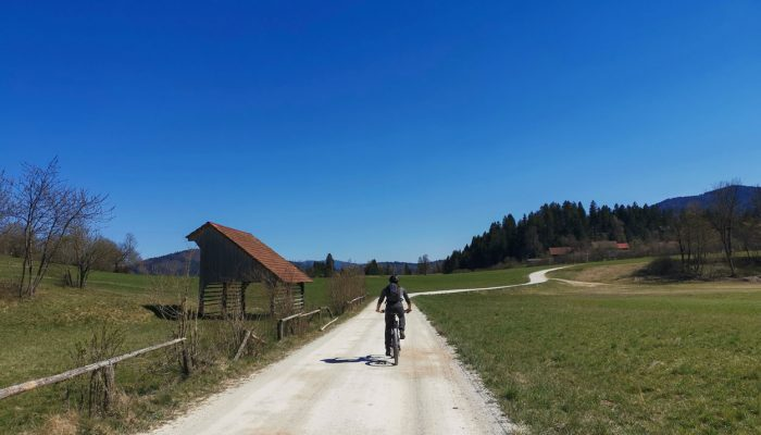 Cycling along Cerknica fields