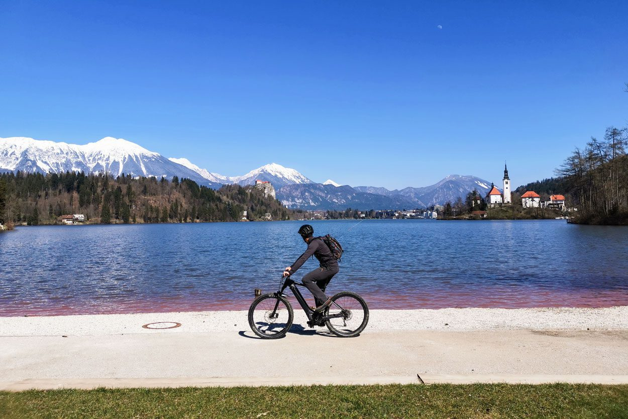 Cycling by the Lake Bled