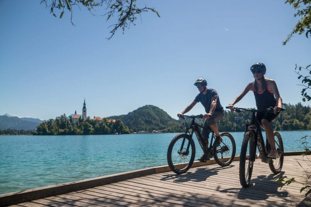 cycling by the bled lake
