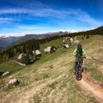 Uphill biking with e-mtb on Zajamniki, Pokljuka