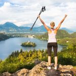 A woman on top of hill above Bled