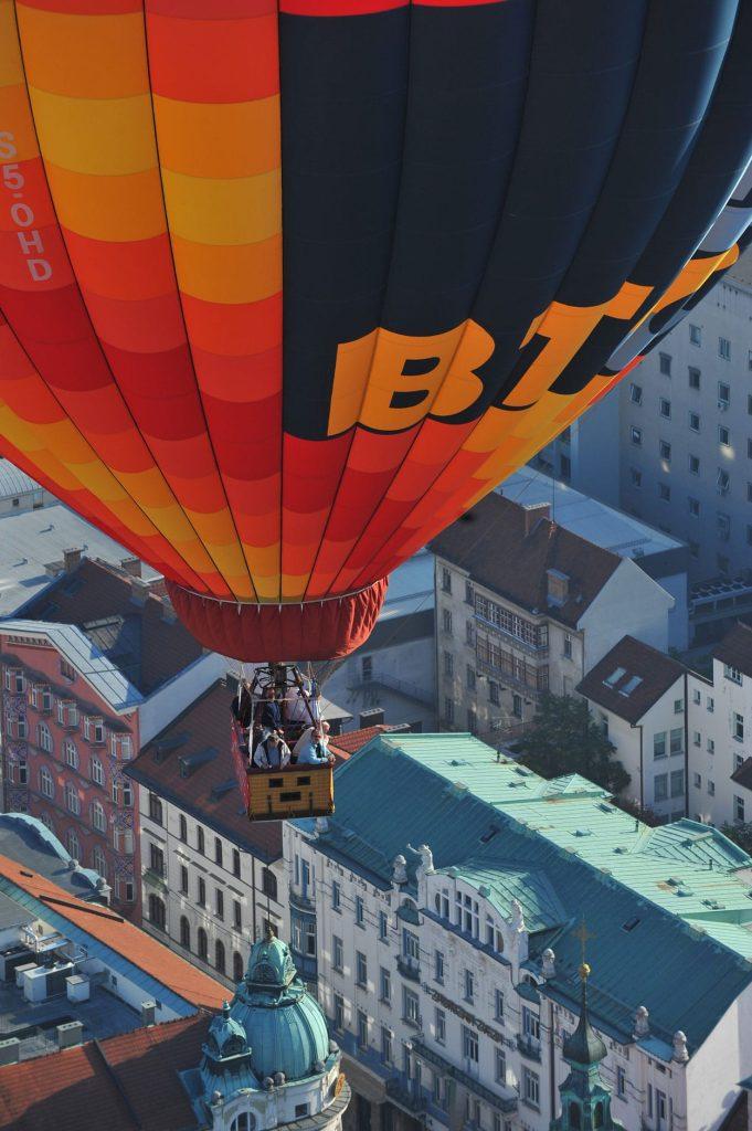 Balloon flight over the city center of Ljubljana