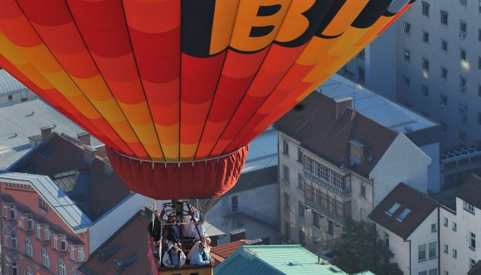 Balloon flight over the city center of Ljubljana