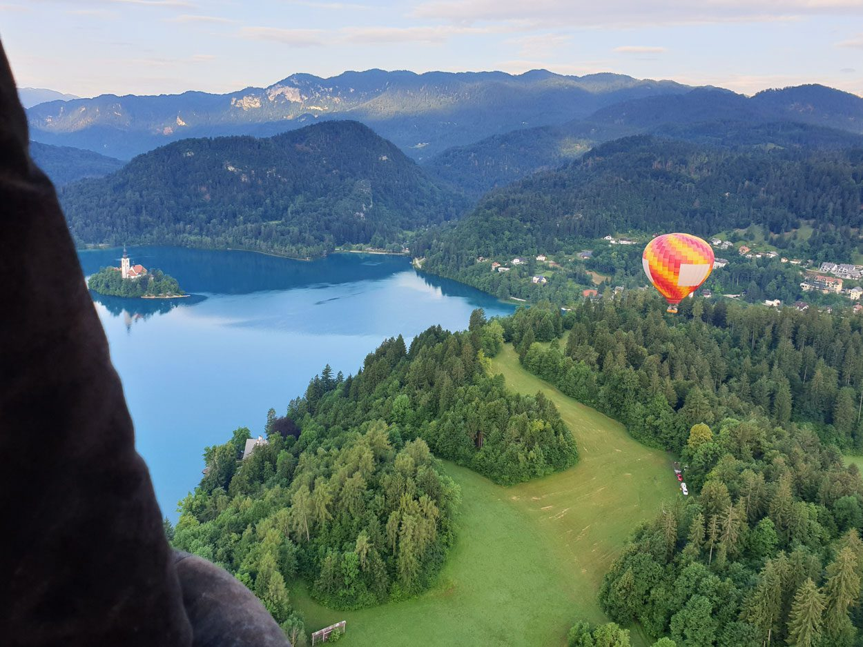 Hot air ballon flight over Lake Bled