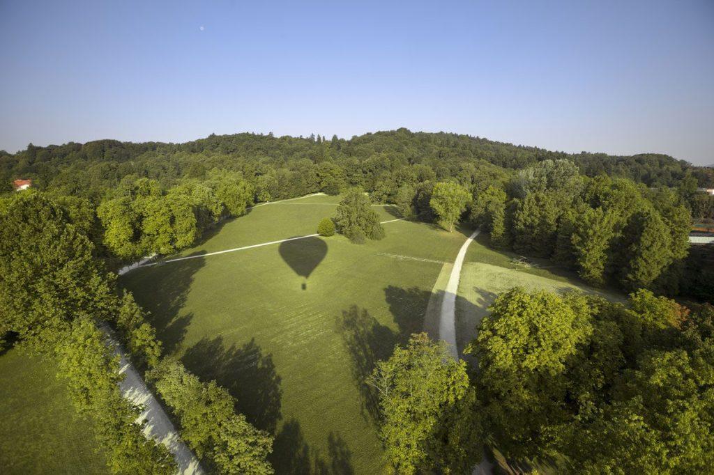 Balloon flight over Tivoli park in Ljubljana