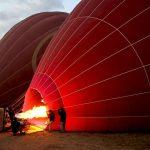 Preparing the hot air ballon for flight