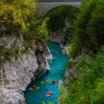 Amazing views on people kayaking on Soča river