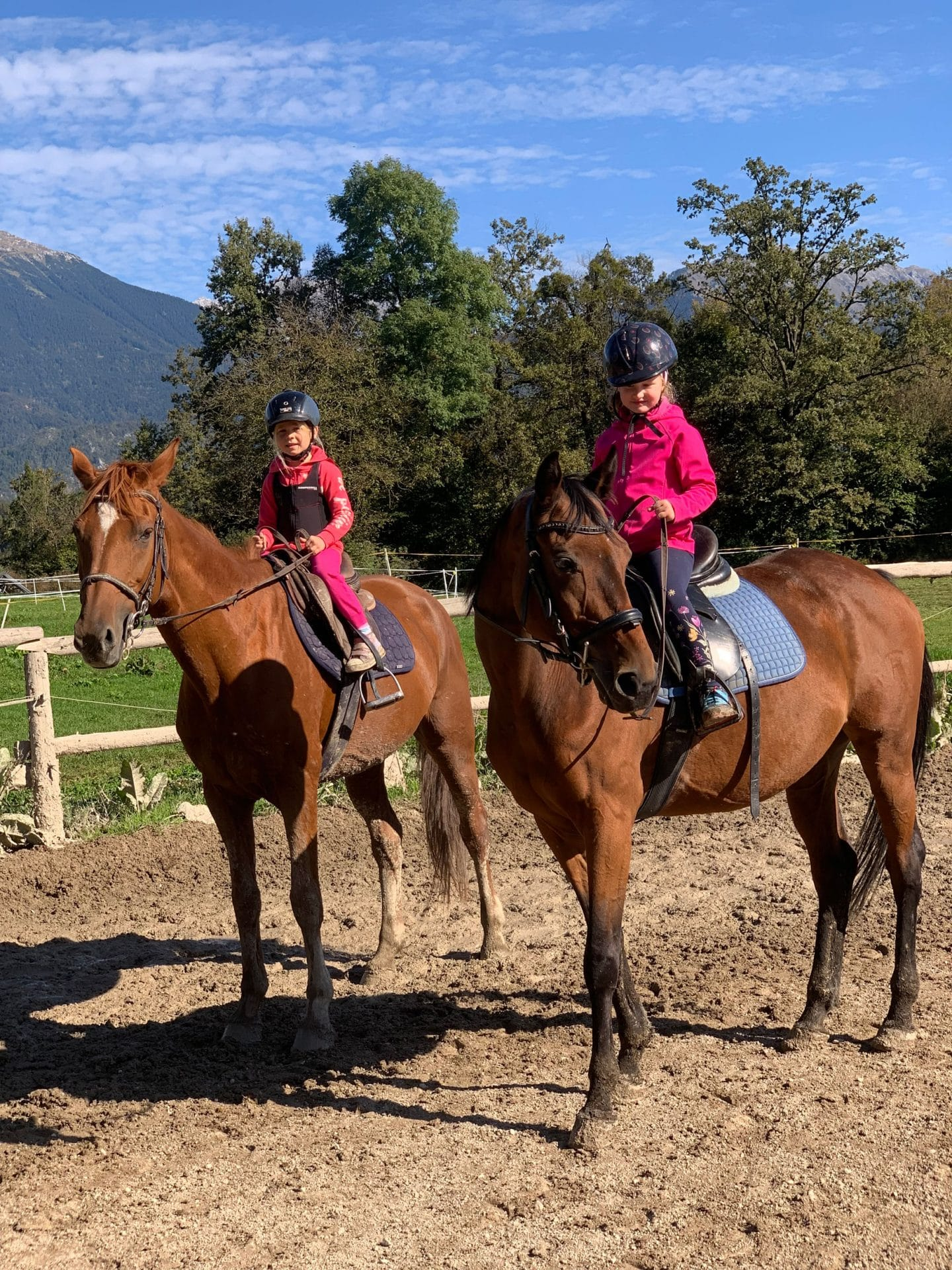 Children riding horses near Bled