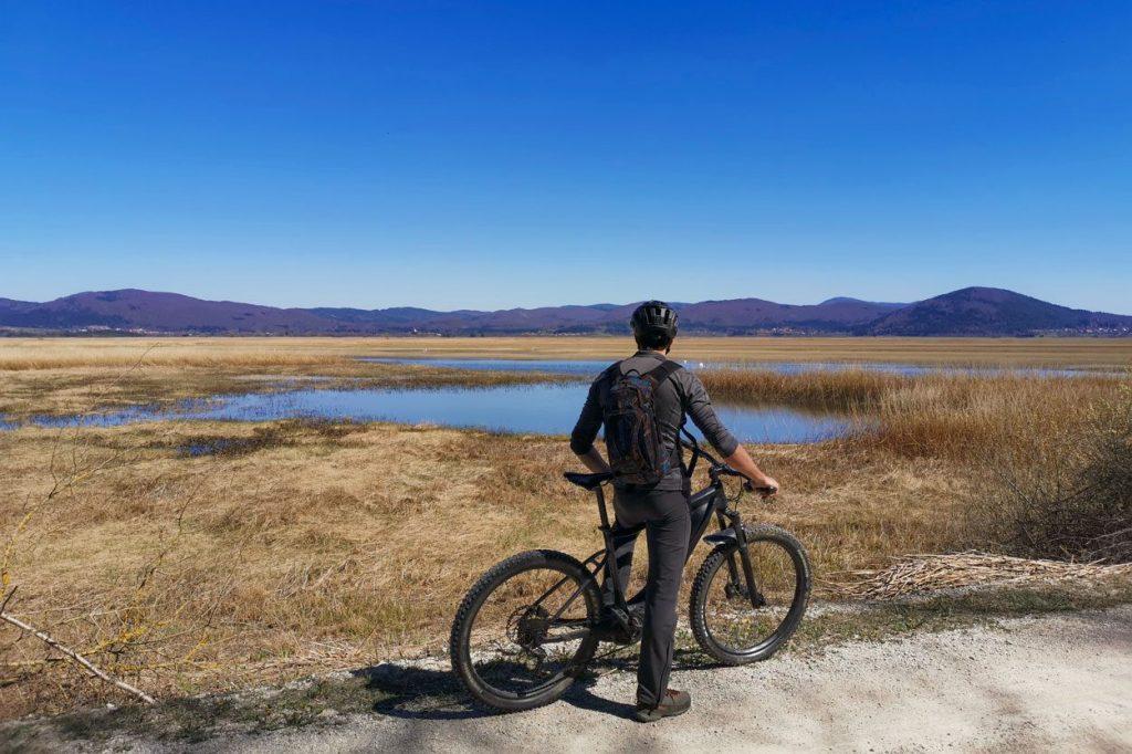 Cyclist watching Cerknica lake