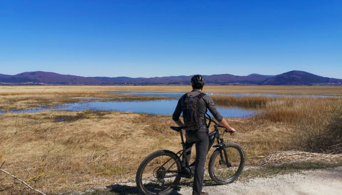 Cyclist watching Cerknica lake