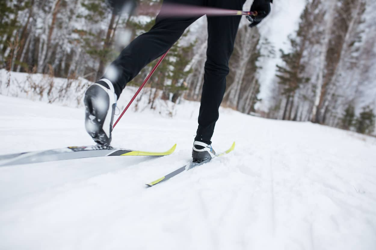 Cross-county skiing through Slovenian woods