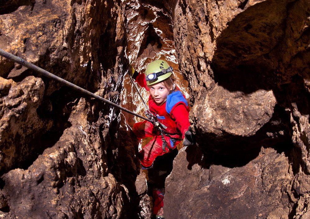 Little caver in ljubljana cave