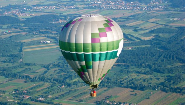 Hot air balloon flight over Ljubljana