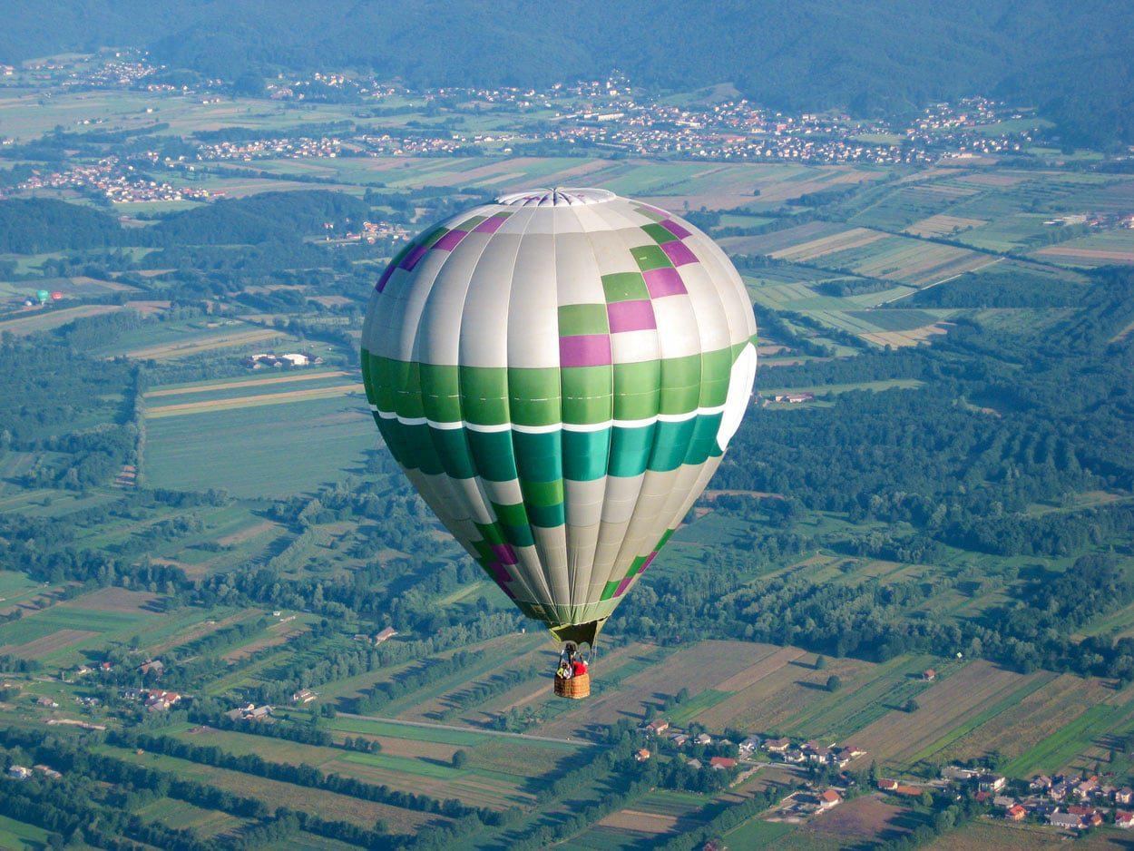 Hot air balloon flight over Ljubljana